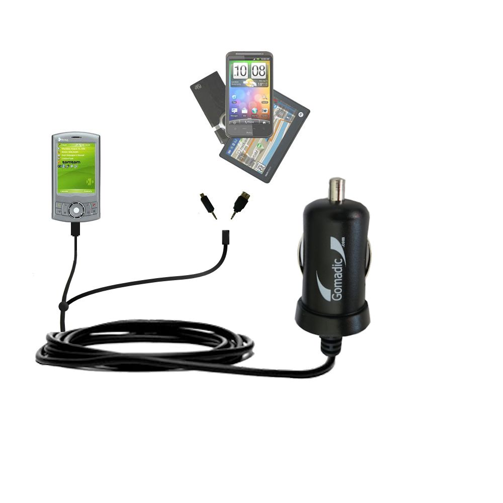 Double Port Micro Gomadic Car / Auto DC Charger suitable for the HTC P3300 - Charges up to 2 devices simultaneously with Gomadic TipExchange Technology