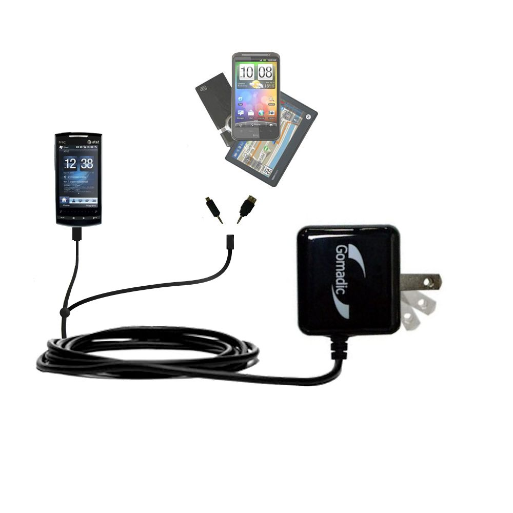 Double Wall Home Charger with tips including compatible with the HTC Pure