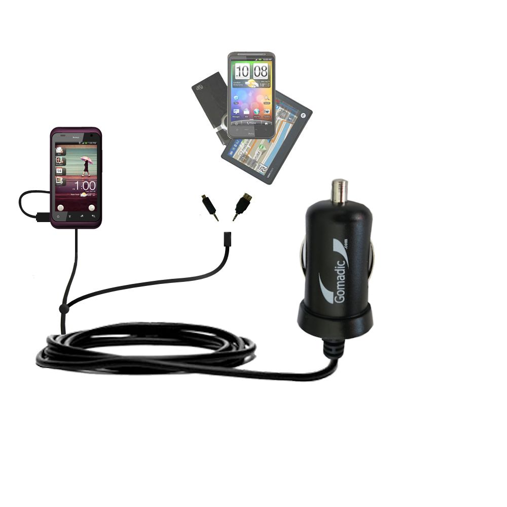 mini Double Car Charger with tips including compatible with the HTC Rhyme