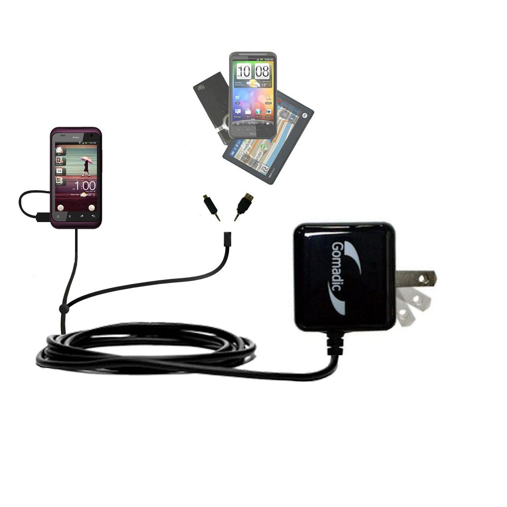 Double Wall Home Charger with tips including compatible with the HTC Rhyme
