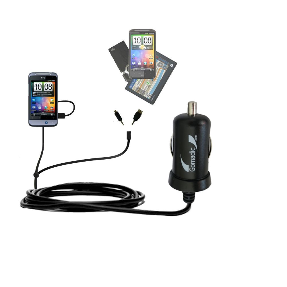 mini Double Car Charger with tips including compatible with the HTC Salsa