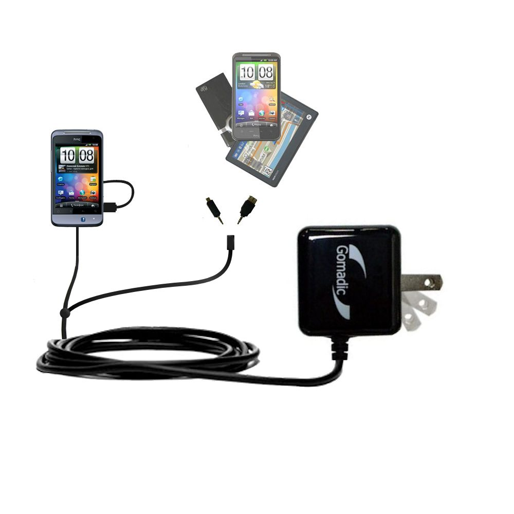 Double Wall Home Charger with tips including compatible with the HTC Salsa