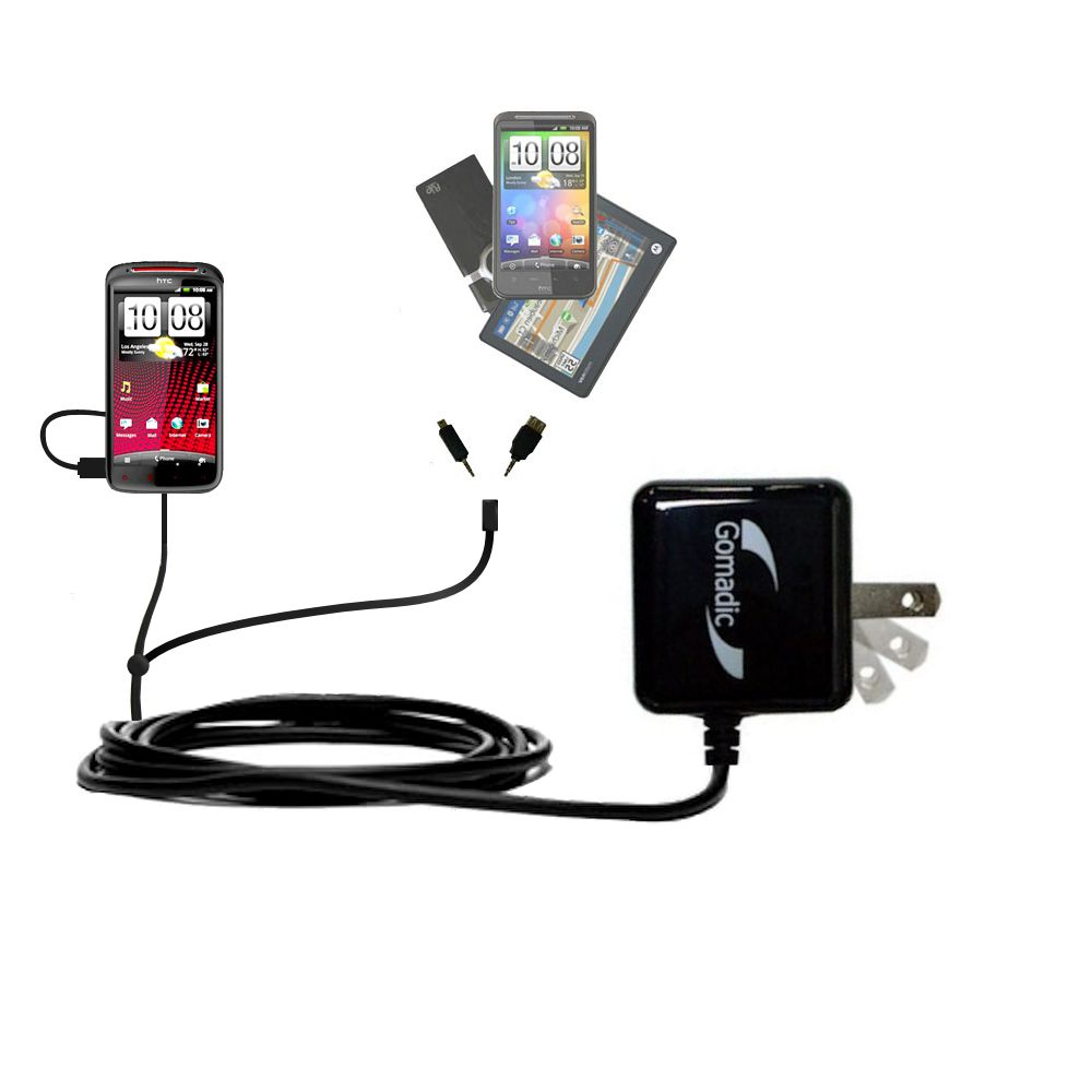 Double Wall Home Charger with tips including compatible with the HTC Sensation XE