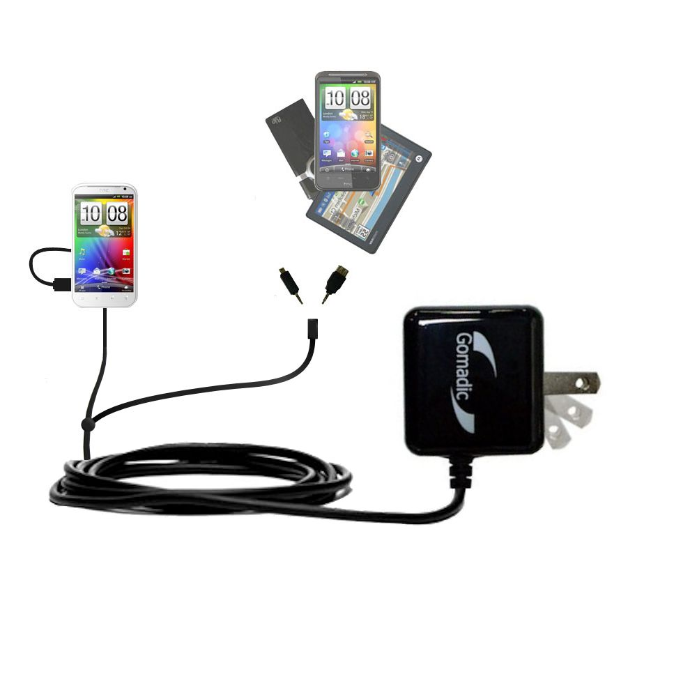 Double Wall Home Charger with tips including compatible with the HTC Sensation XL