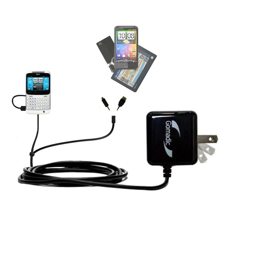 Double Wall Home Charger with tips including compatible with the HTC Status
