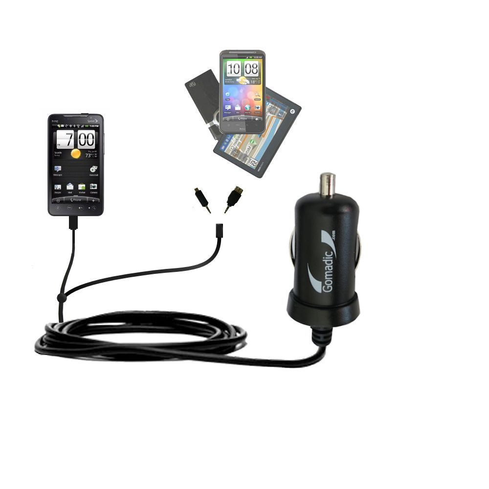 mini Double Car Charger with tips including compatible with the HTC Supersonic