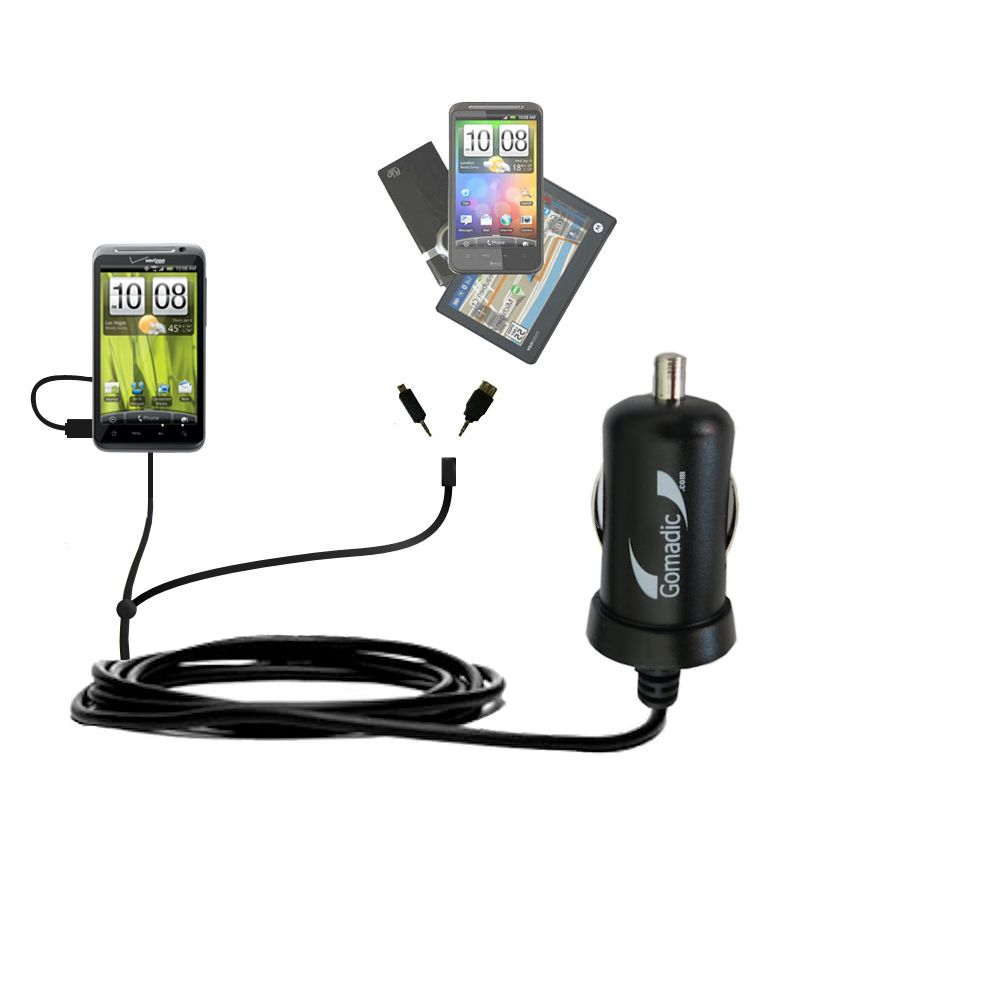 mini Double Car Charger with tips including compatible with the HTC Thunderbolt
