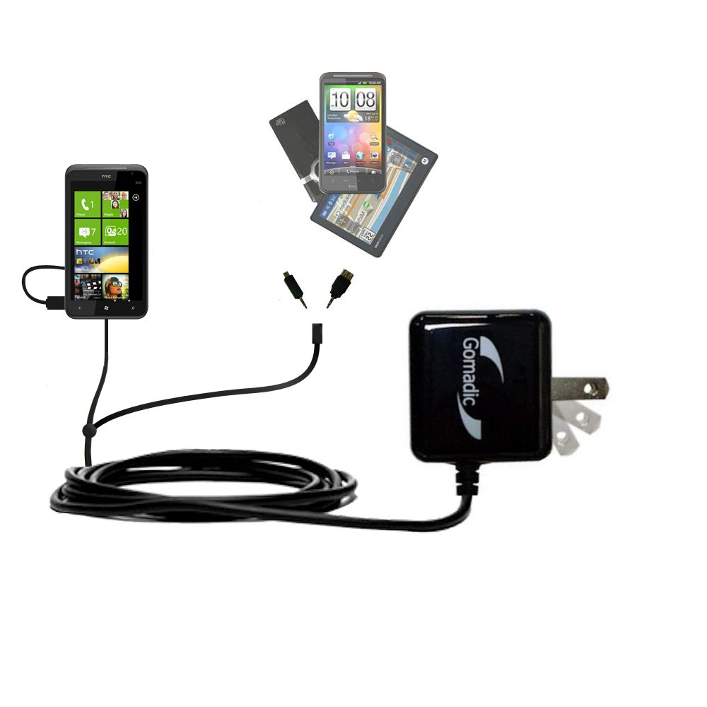 Double Wall Home Charger with tips including compatible with the HTC Titan
