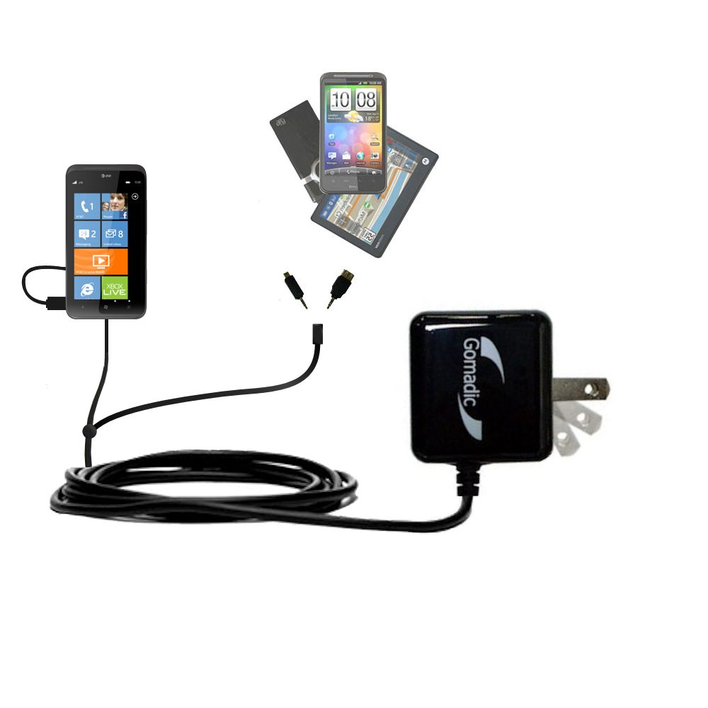 Double Wall Home Charger with tips including compatible with the HTC Titan II