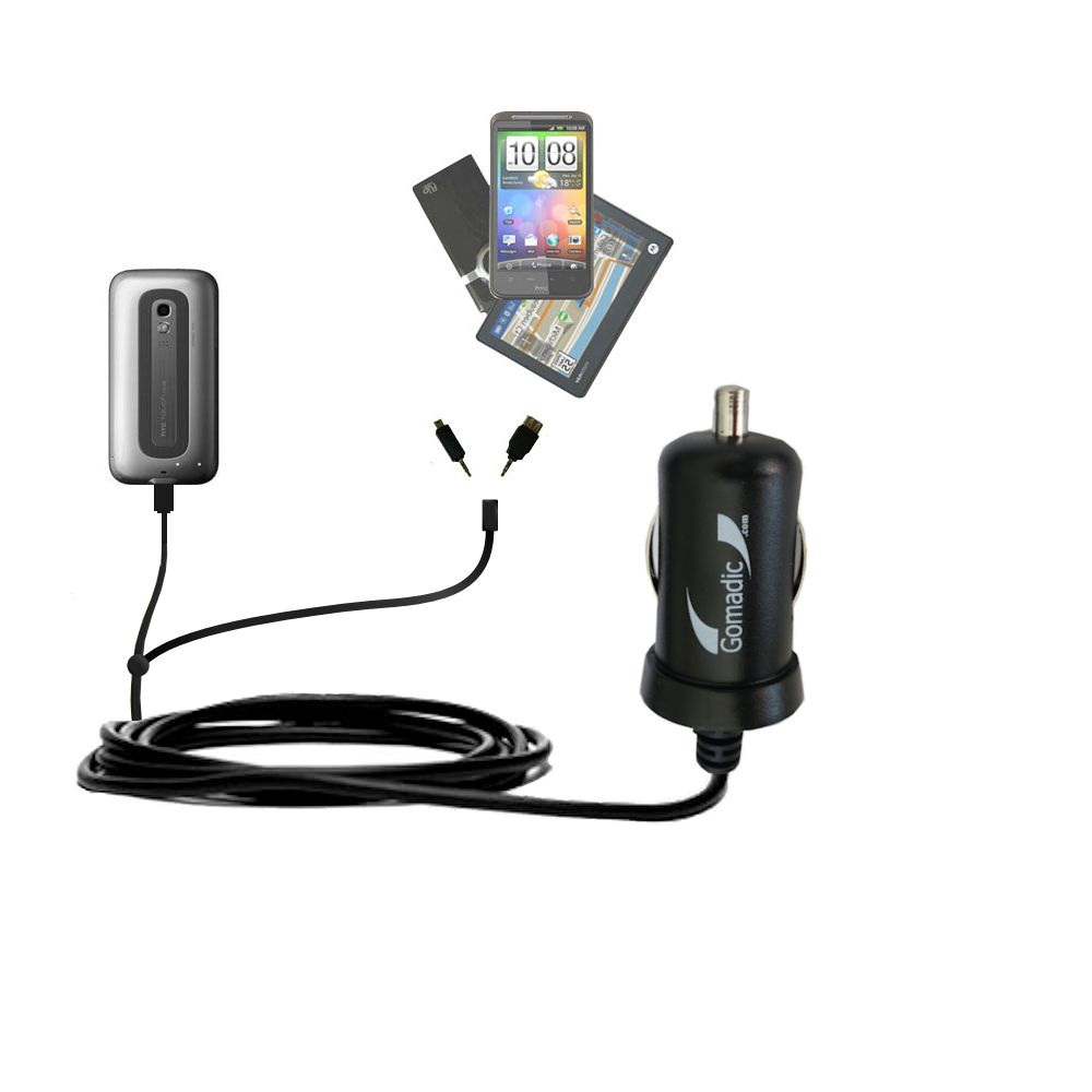 mini Double Car Charger with tips including compatible with the HTC Touch Pro2