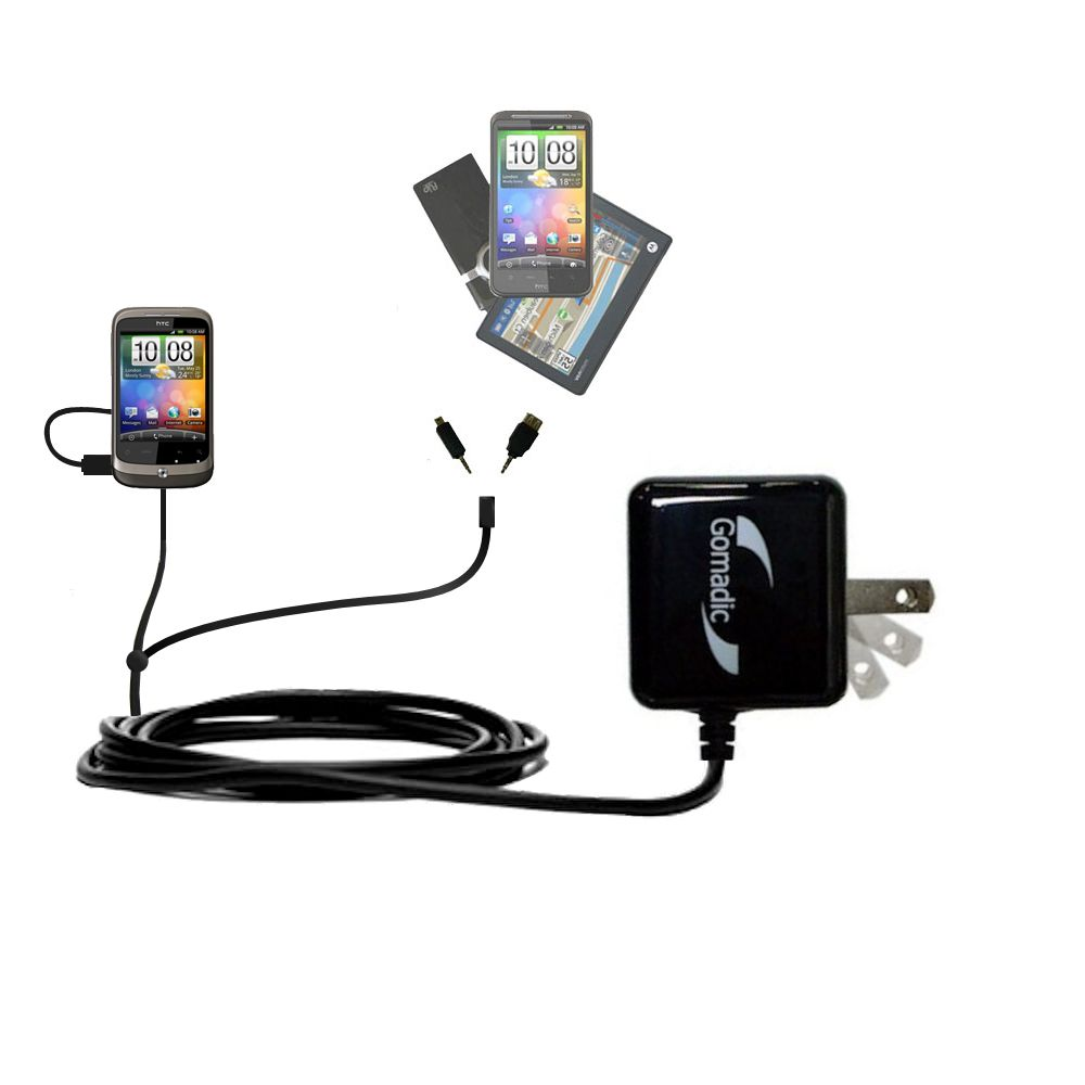 Double Wall Home Charger with tips including compatible with the HTC Wildfire