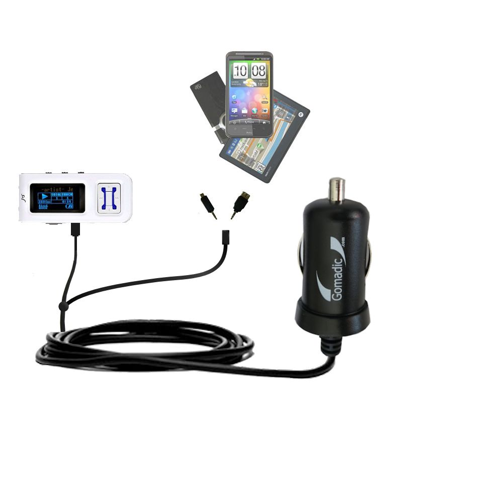 mini Double Car Charger with tips including compatible with the Jens of Sweden MP-400