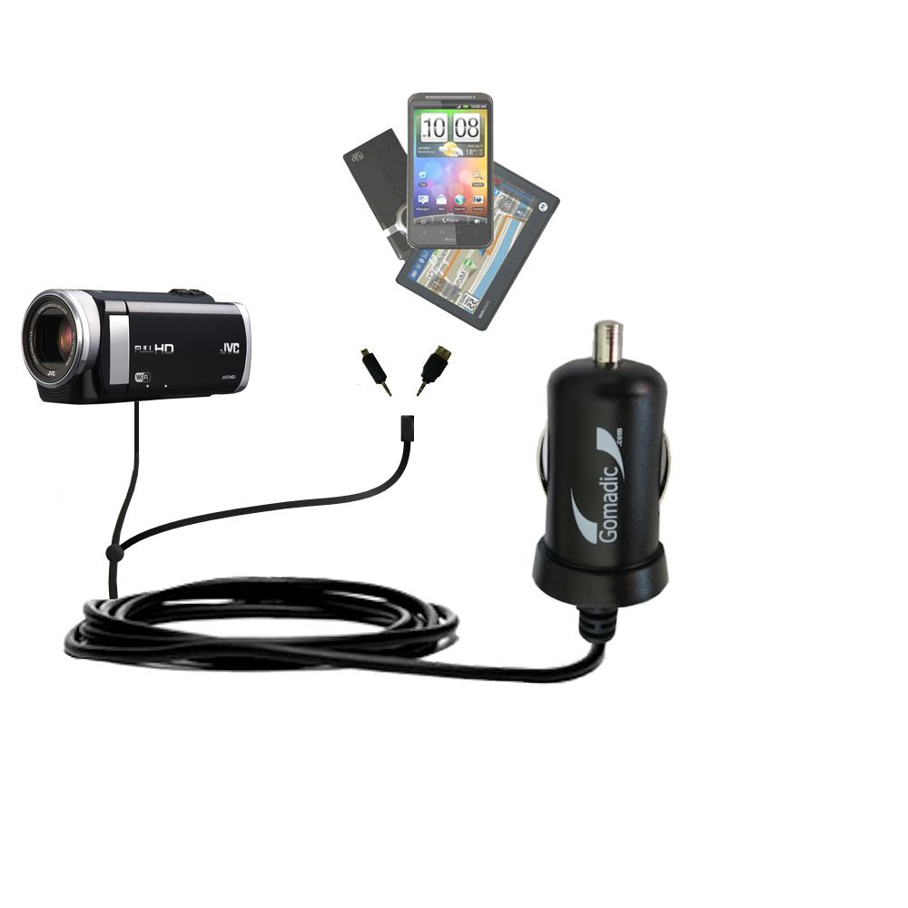 mini Double Car Charger with tips including compatible with the JVC Everio GZ-EX210 / GZ-EX250