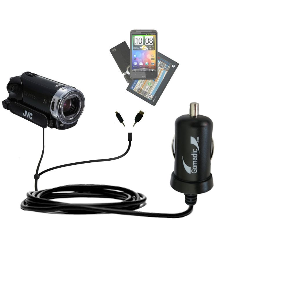 mini Double Car Charger with tips including compatible with the JVC Everio GZ-EX215 / GZ-EX250BUS