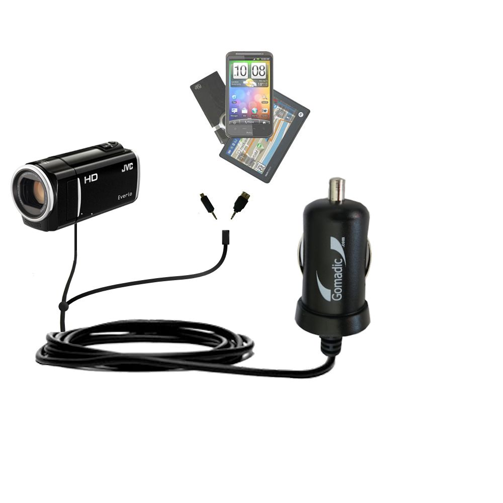mini Double Car Charger with tips including compatible with the JVC Everio GZ-HM30 / GZ-HM40