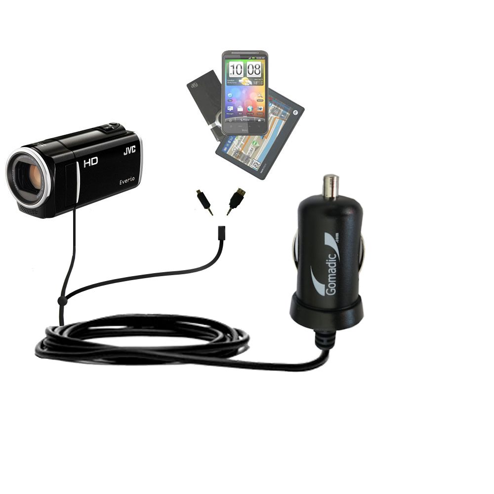 mini Double Car Charger with tips including compatible with the JVC Everio GZ-HM35