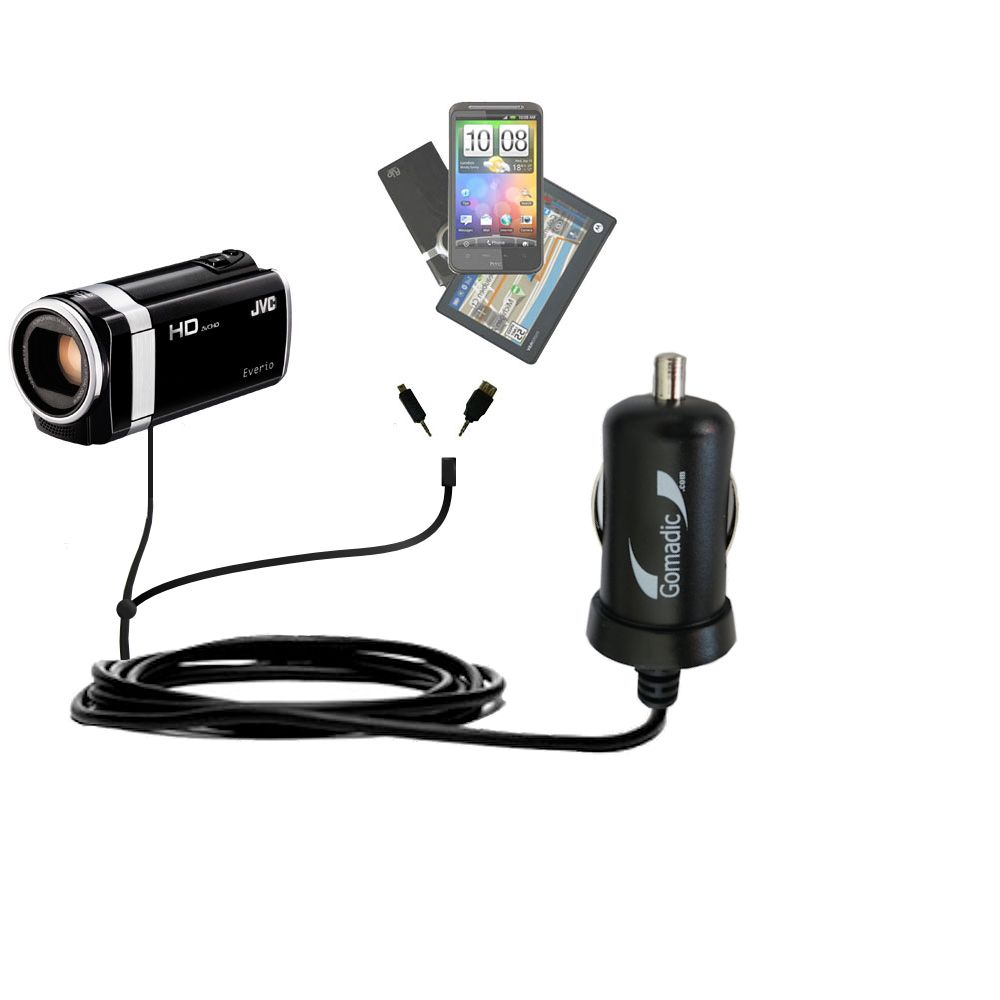 mini Double Car Charger with tips including compatible with the JVC Everio GZ-HM670 / HM690