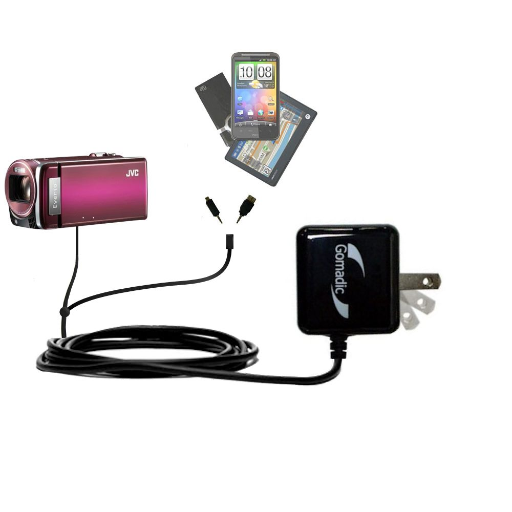 Double Wall Home Charger with tips including compatible with the JVC Everio GZ-HM880 / HM890