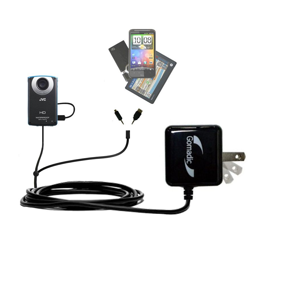 Double Wall Home Charger with tips including compatible with the JVC GC-WP10 Waterproof Camera