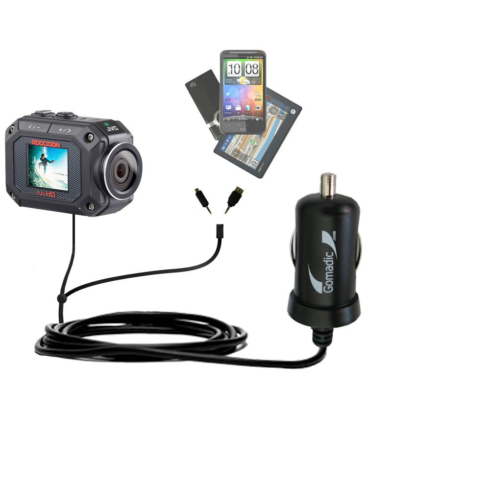 mini Double Car Charger with tips including compatible with the JVC GC-XA2 Action Camera