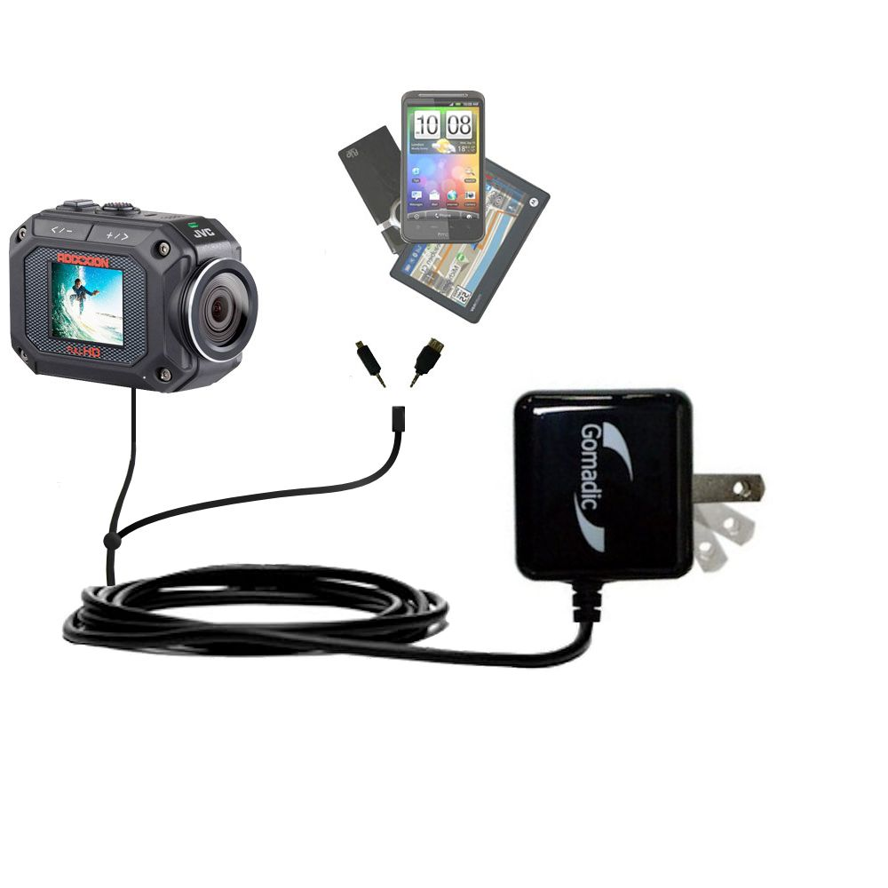 Double Wall Home Charger with tips including compatible with the JVC GC-XA2 Action Camera