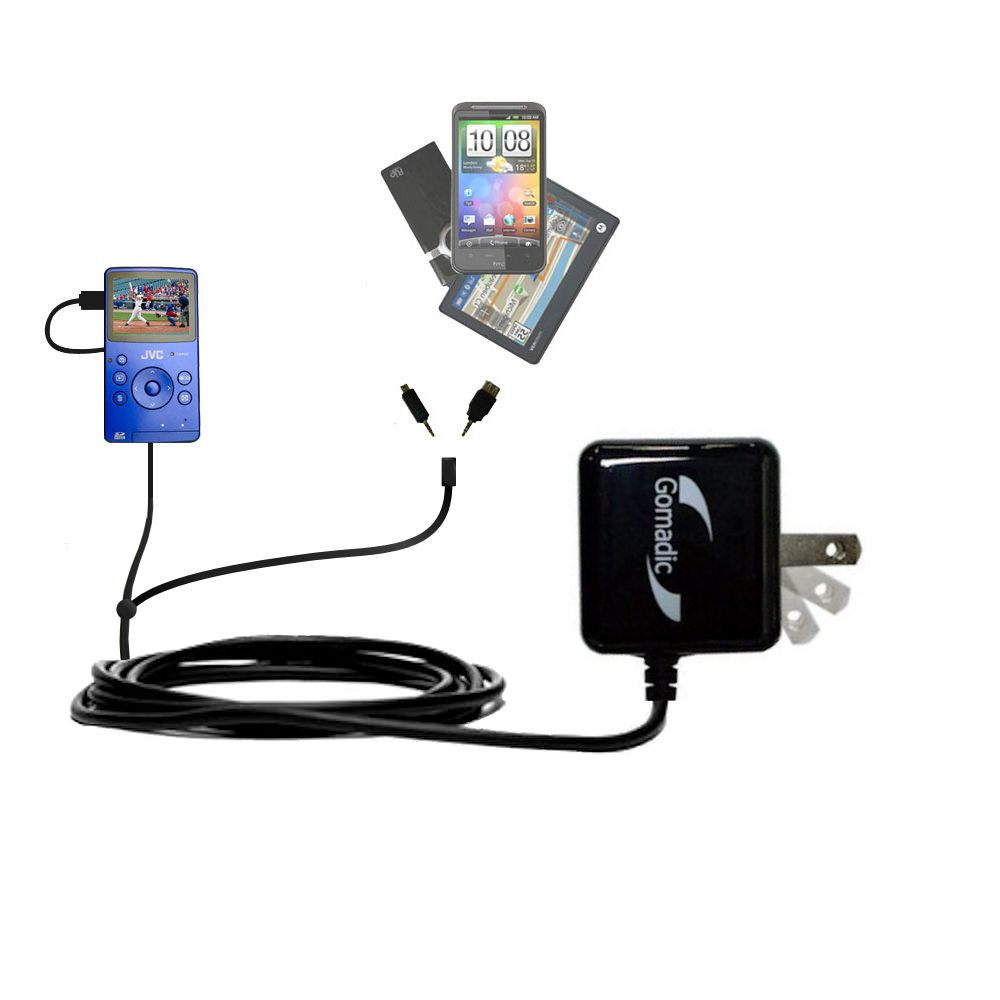 Double Wall Home Charger with tips including compatible with the JVC Picsio GC-FM1 Pocket  Video Camera