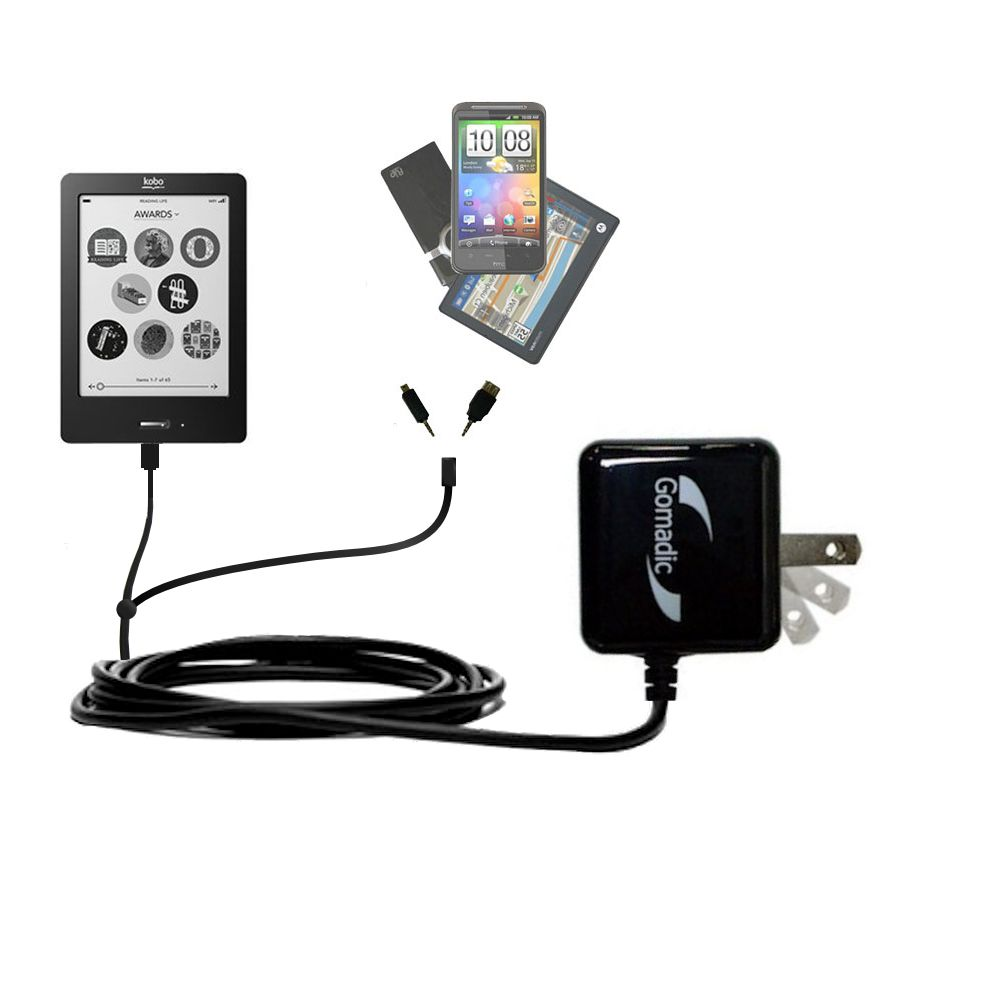 Double Wall Home Charger with tips including compatible with the Kobo eReader Touch
