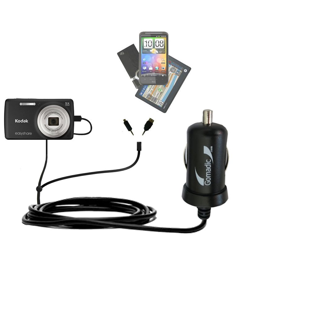 mini Double Car Charger with tips including compatible with the Kodak EasyShare M552