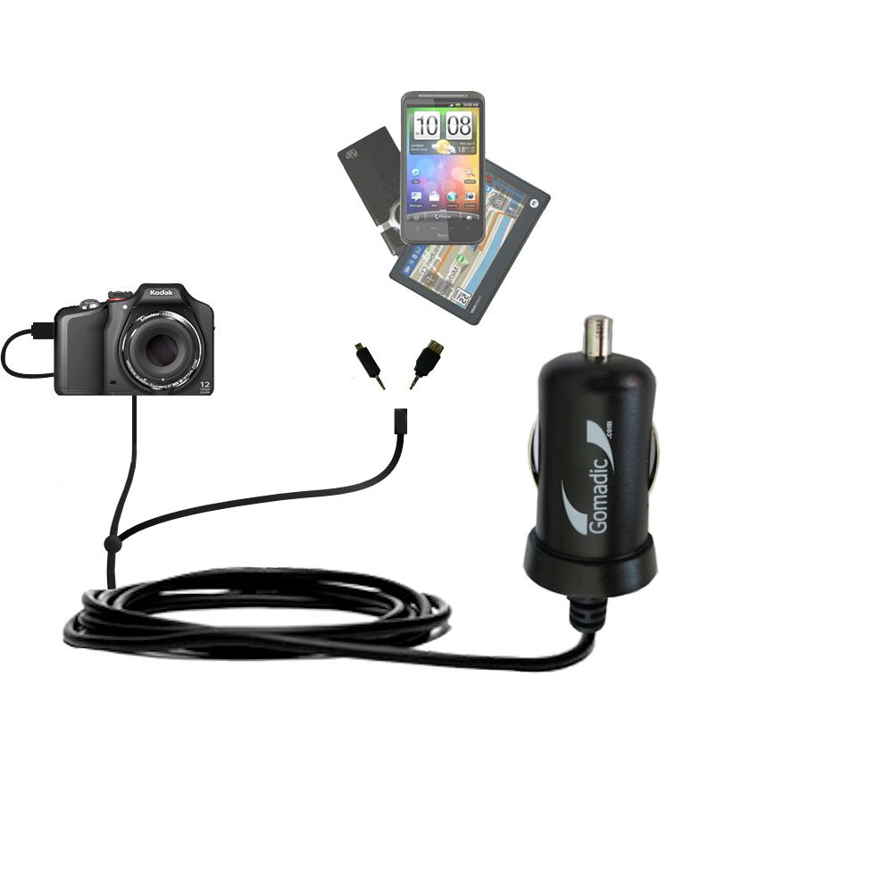 mini Double Car Charger with tips including compatible with the Kodak EasyShare Max