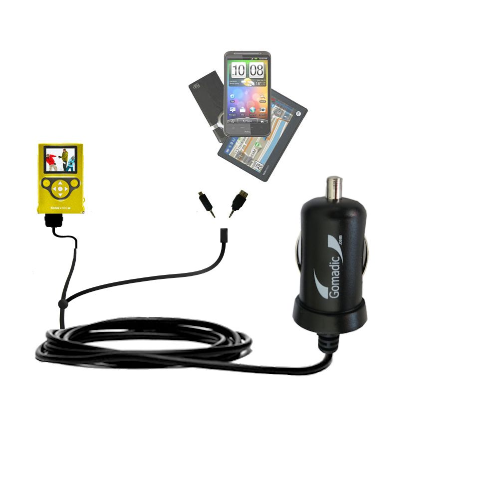 mini Double Car Charger with tips including compatible with the Kodak Mini Video Camera