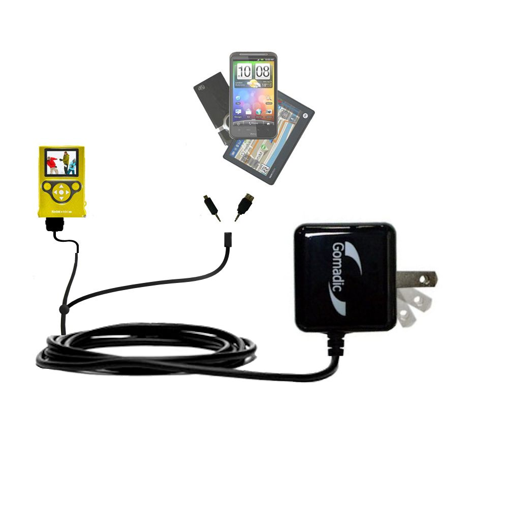 Double Wall Home Charger with tips including compatible with the Kodak Mini Video Camera