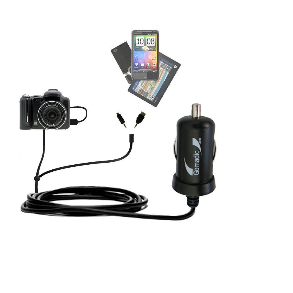 mini Double Car Charger with tips including compatible with the Kodak P712