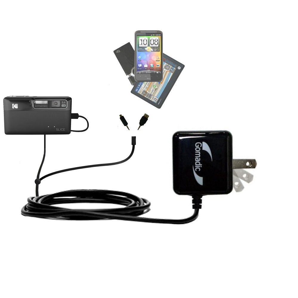 Uses TipExchange Technology to charge up to four devices simultaneously Quad 4-port wall charger with included tip for the Kodak EasyShare TOUCH a compact design with flip out prongs