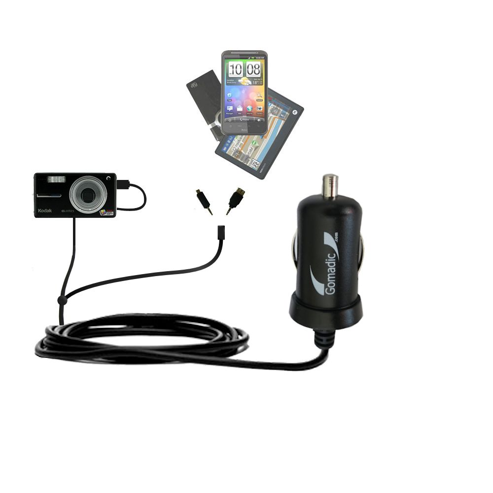 mini Double Car Charger with tips including compatible with the Kodak V603 V610