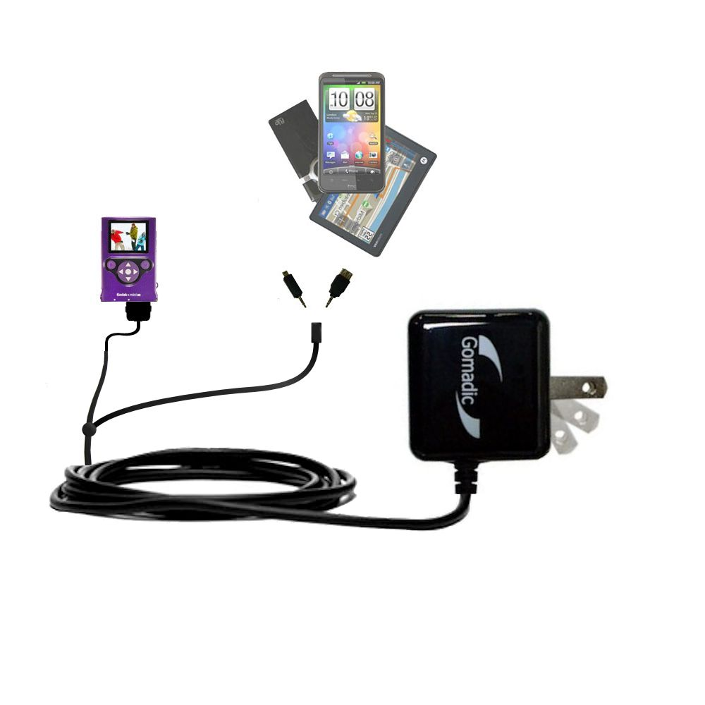 Double Wall Home Charger with tips including compatible with the Kodak Zm2 Mini Video Camera