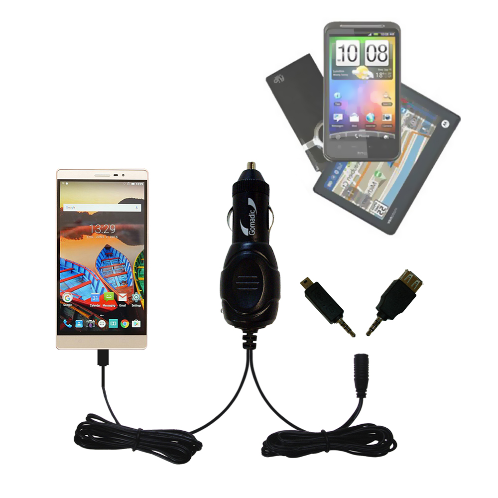 mini Double Car Charger with tips including compatible with the Lenovo PHAB 2 Pro