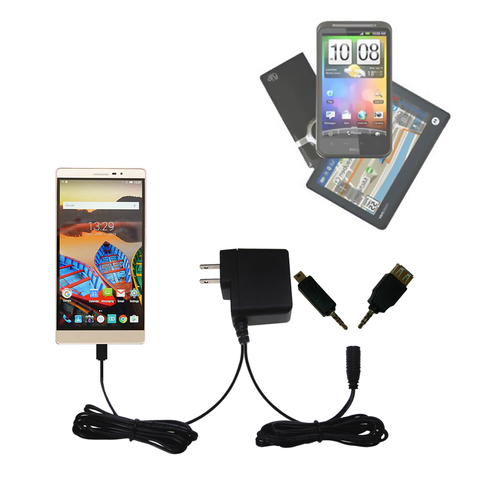 Double Wall Home Charger with tips including compatible with the Lenovo PHAB 2 Pro