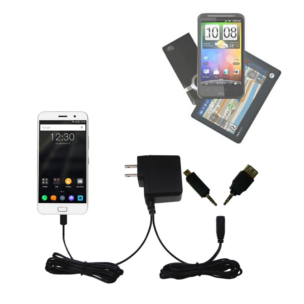 Double Wall Home Charger with tips including compatible with the Lenovo ZUK Z1