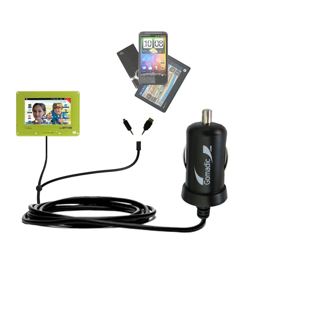 mini Double Car Charger with tips including compatible with the Lexibook Laptab MFC140EN