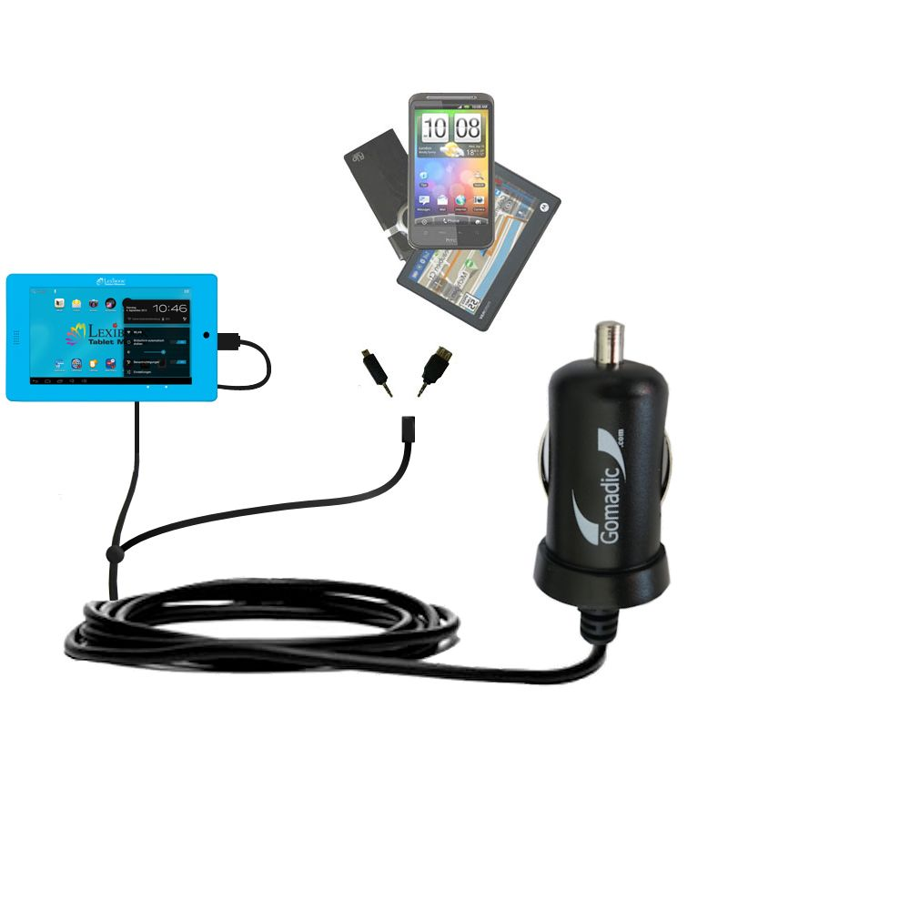 mini Double Car Charger with tips including compatible with the Lexibook Tablet Advance MFC180EN