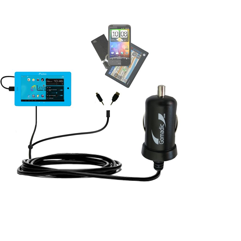 mini Double Car Charger with tips including compatible with the Lexibook Tablet Master MFC155EN