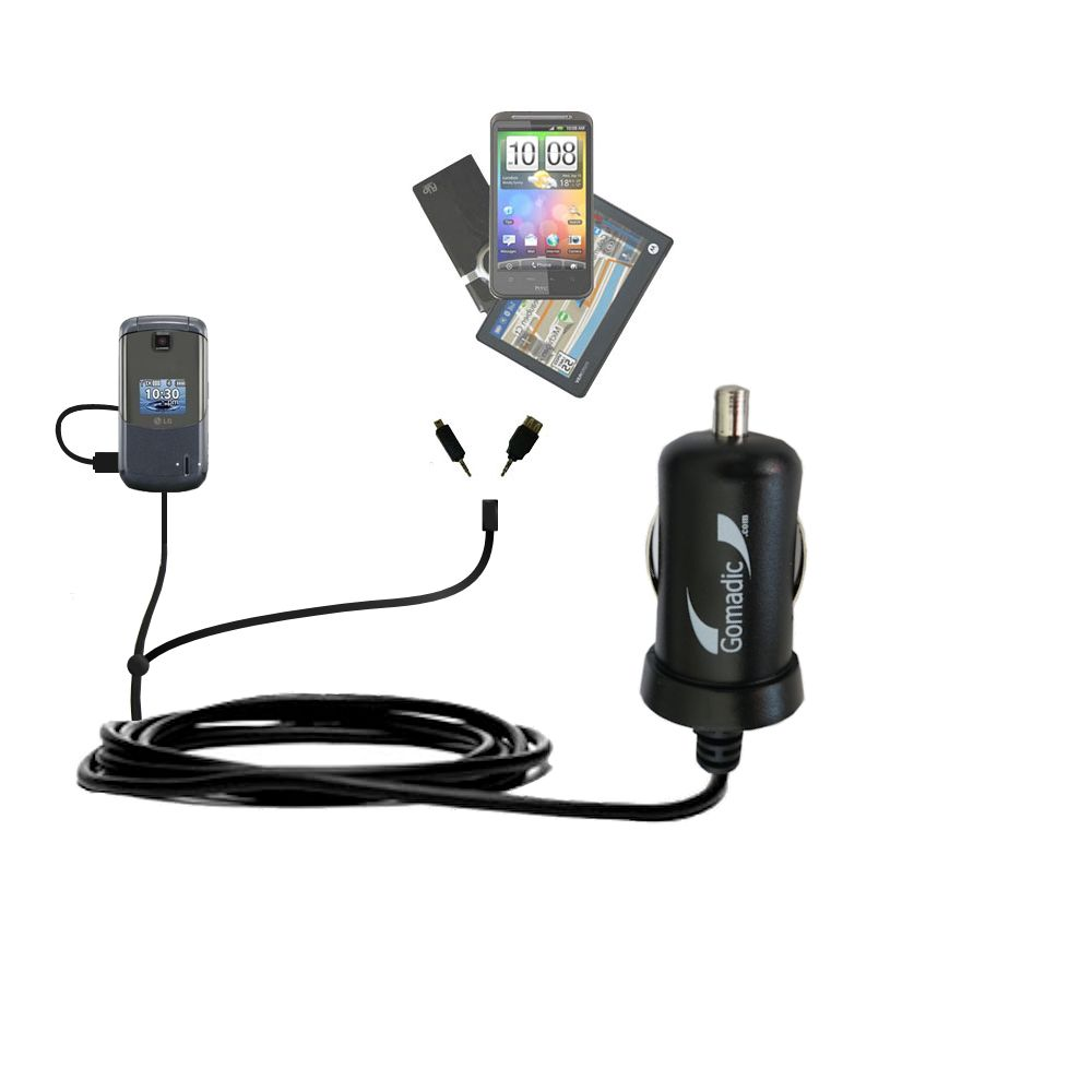 mini Double Car Charger with tips including compatible with the LG Accolade