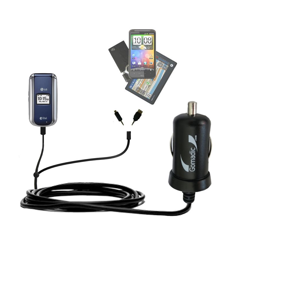 mini Double Car Charger with tips including compatible with the LG AX155