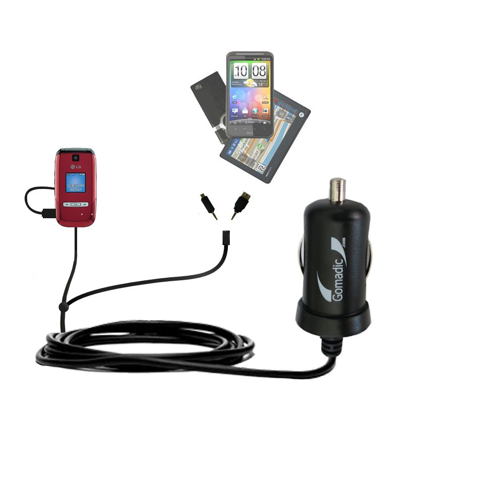 mini Double Car Charger with tips including compatible with the LG AX500