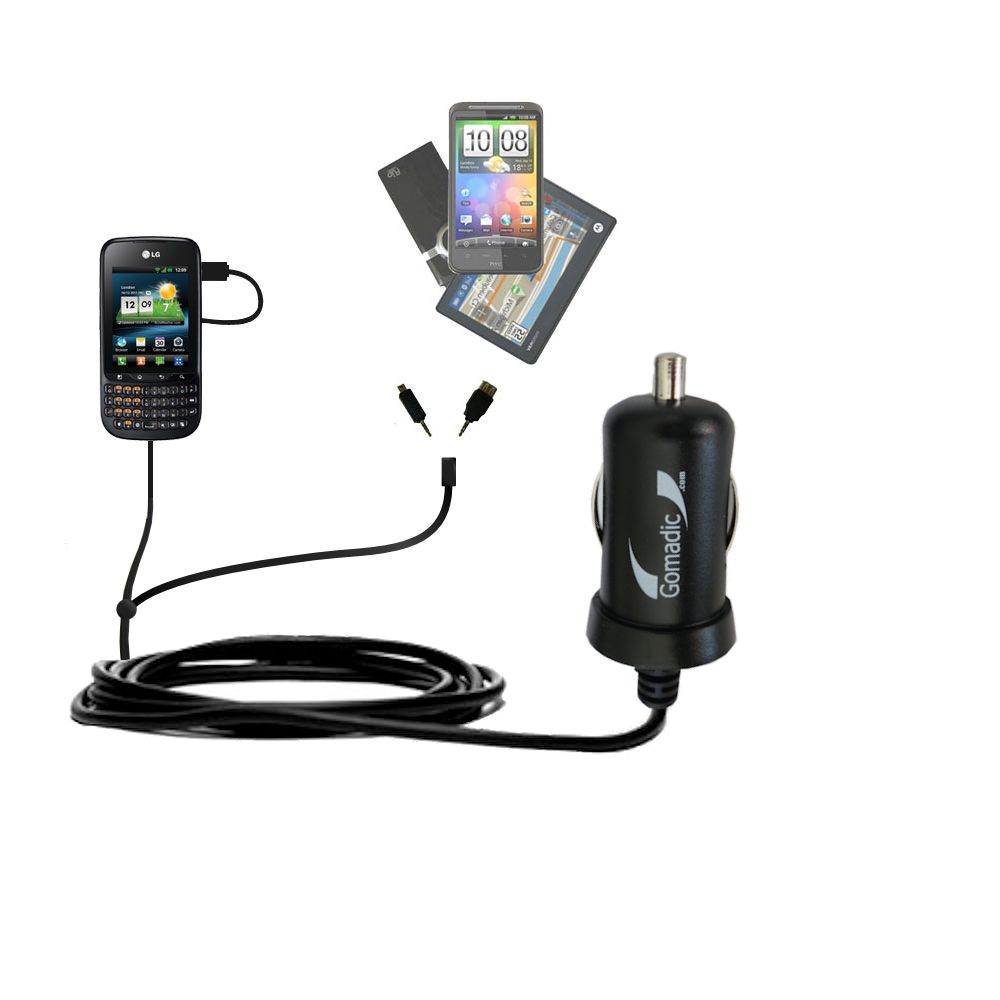 mini Double Car Charger with tips including compatible with the LG C660