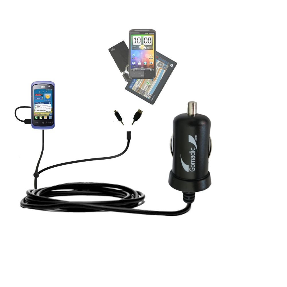 mini Double Car Charger with tips including compatible with the LG Cookie Music