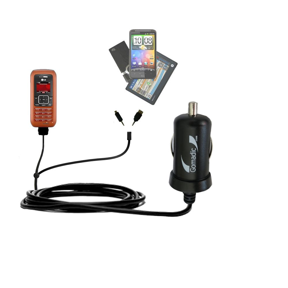 mini Double Car Charger with tips including compatible with the LG EnV