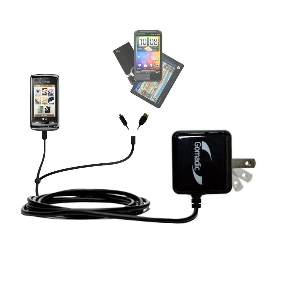 Double Wall Home Charger with tips including compatible with the LG enV Touch