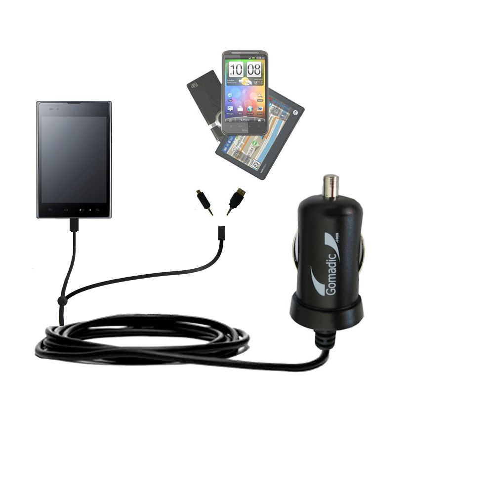 mini Double Car Charger with tips including compatible with the LG F100L