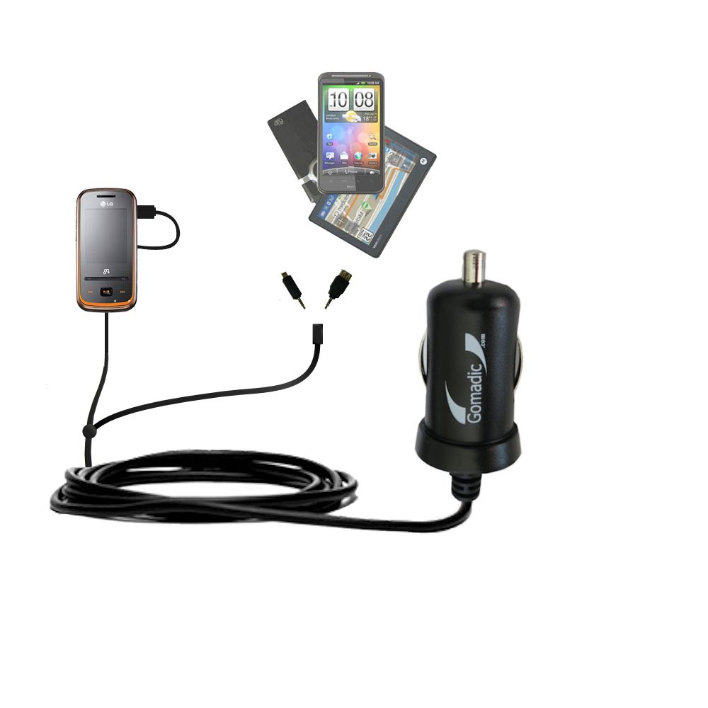 mini Double Car Charger with tips including compatible with the LG GM310